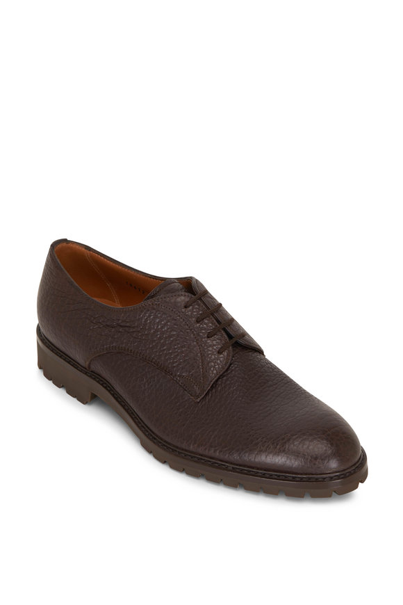 Gravati Dark Brown Grained Leather Lace-Up Dress Shoe