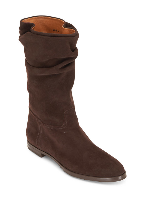 Gravati Dark Brown Suede Scrunchy Boot