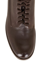 Gravati - Rustico Brown Grained Leather Lace-Up Combat Boot