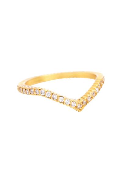 "Yossi Harari - Lilah Yellow Gold White Diamond ""V"" Ring"