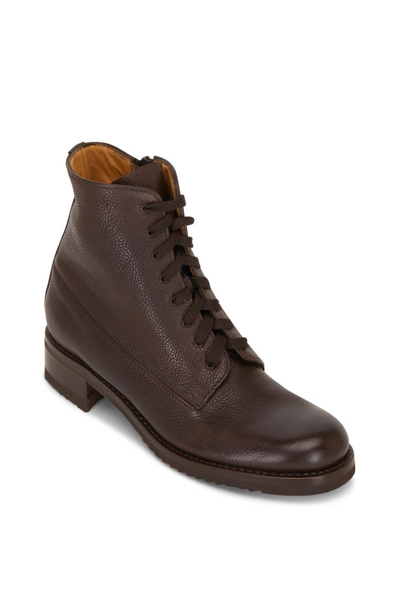 Gravati Rustico Brown Grained Leather Lace-Up Combat Boot