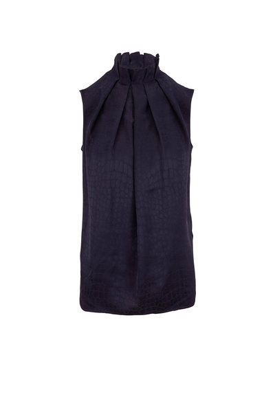 Kiton - Navy Blue Tonal Croc Print Sleeveless Blouse