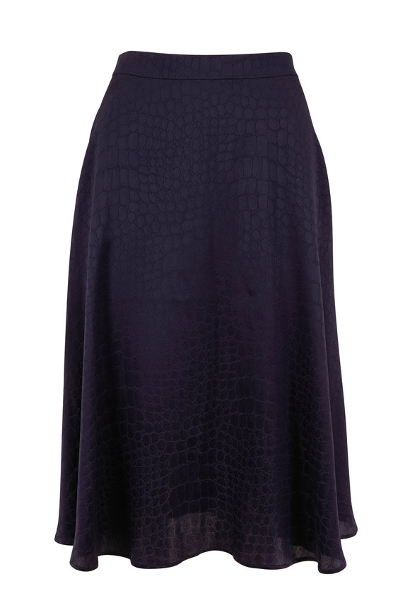 Kiton Navy Blue Silk Tonal Croc Print Skirt