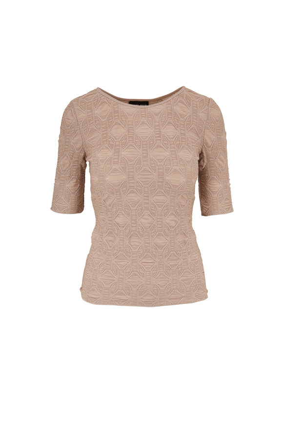 Giorgio Armani Vanilla Textured Knit Elbow Sleeve Top