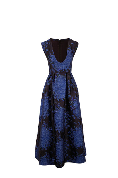 Valentino - Black & Blue Brocade Delft Pattern Sleeveless Gown