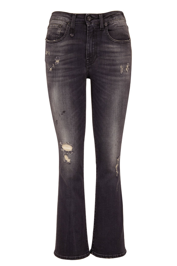 R13 Kick Fit Strummer Black Crop Flare Jean