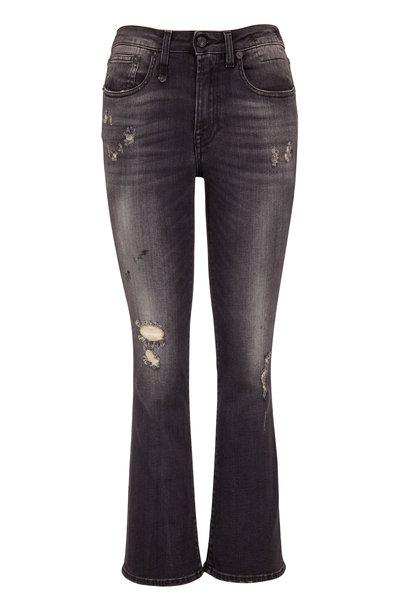 R13 - Kick Fit Strummer Black Crop Flare Jean
