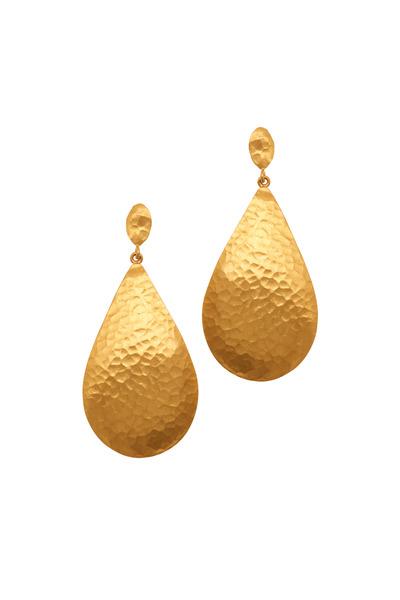 Yossi Harari - Yellow Gold Pear Shape Dome Earrings