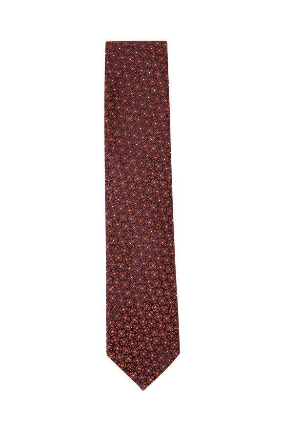 Ermenegildo Zegna Brown & Orange Flower Design Silk Necktie