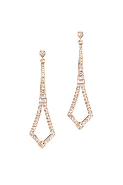 Penny Preville - Yellow Gold Long Deco Diamond Earrings