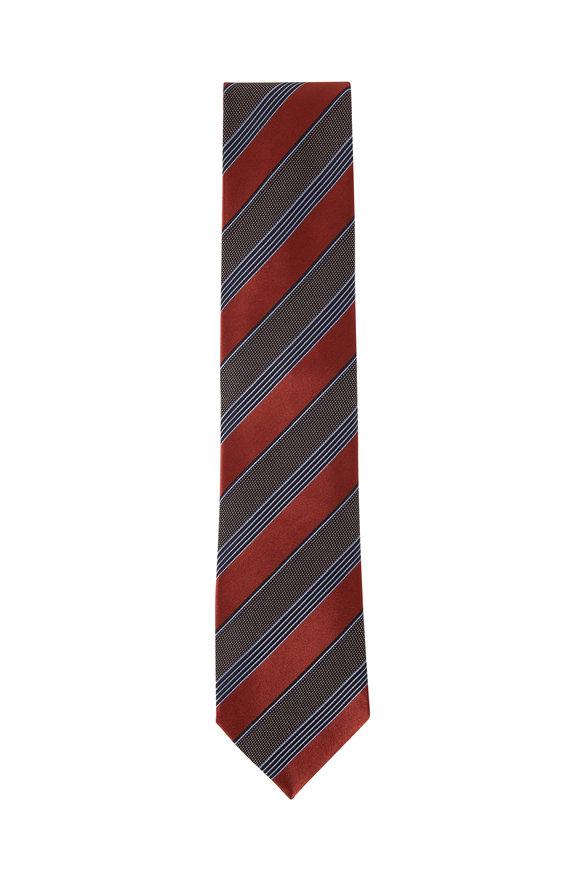 Ermenegildo Zegna Orange, Green & Blue Diagonal Stripe Silk Necktie