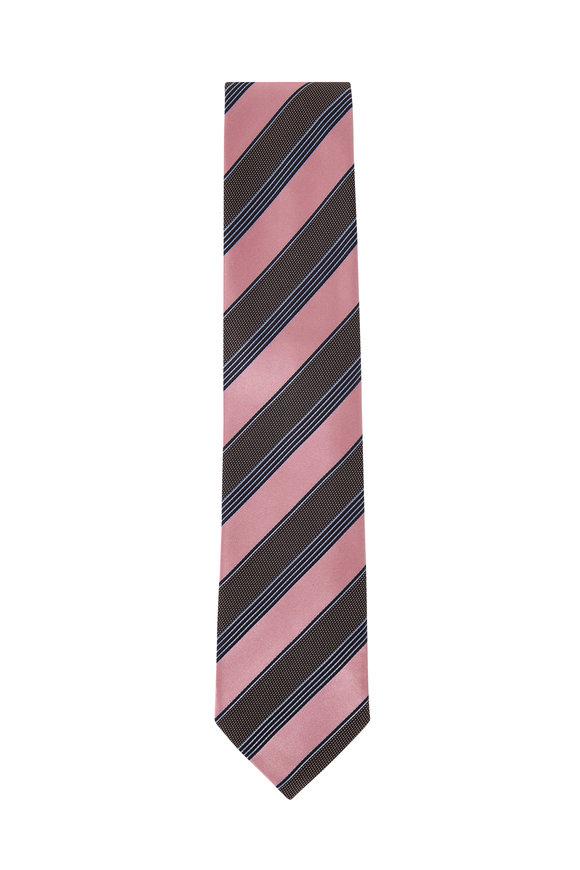 Ermenegildo Zegna Dusty Green & Pink Diagonal Stripe Silk Necktie