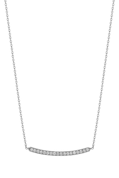 Penny Preville - White Gold Pavé-Set White Diamond Bar Necklace
