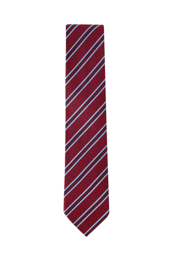 Ermenegildo Zegna Red & Blue Diagonal Stripe Silk Tie