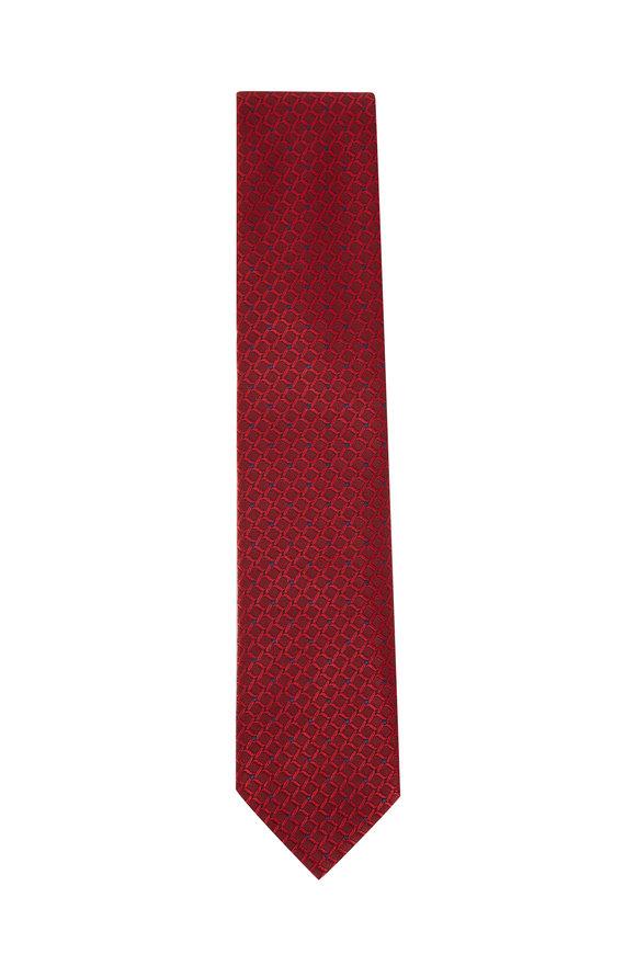 Ermenegildo Zegna Red Tonal Square Print Silk Necktie