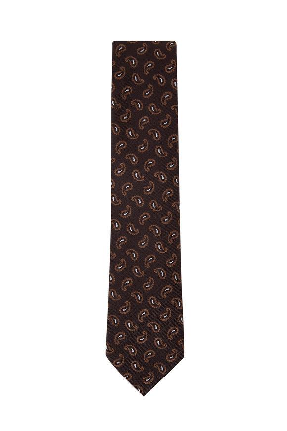 Ermenegildo Zegna Brown Boteh Design Silk Necktie
