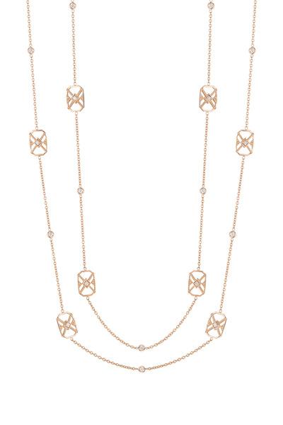 Penny Preville - Yellow Gold Square Deco Diamond Necklace
