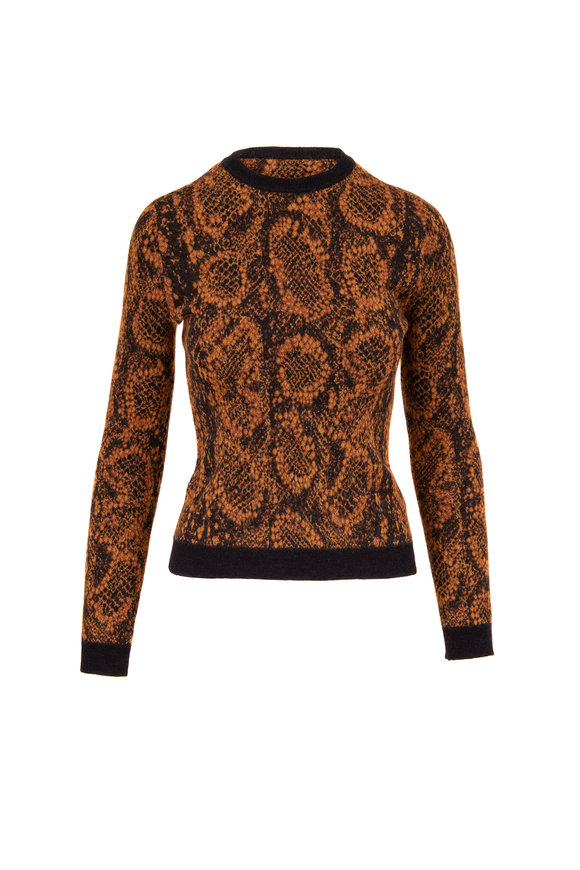 Saint Laurent Camel Black Jacquard Snake Crew Neck Sweater