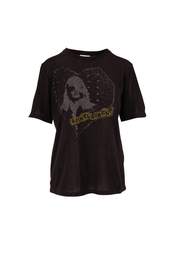 Saint Laurent Black Graphic Heart T-Shirt
