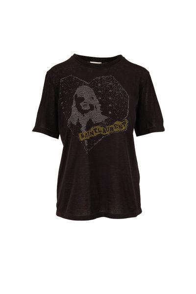 Saint Laurent - Black Graphic Heart T-Shirt