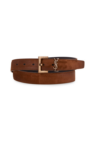 Saint Laurent - Monogramme Dark Land Suede Logo Belt