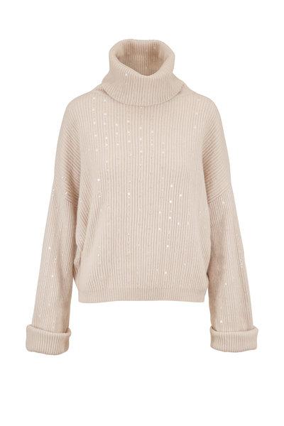 Brunello Cucinelli - Warm White Cashmere & Paillette Striped Turtleneck