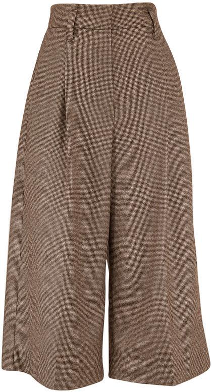 Brunello Cucinelli Brown Wool Mini Houndstooth Culotte