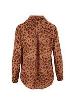 L'Agence - Brown Leopard Print Silk Blouse