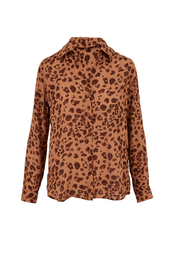 L'Agence Brown Leopard Print Silk Blouse