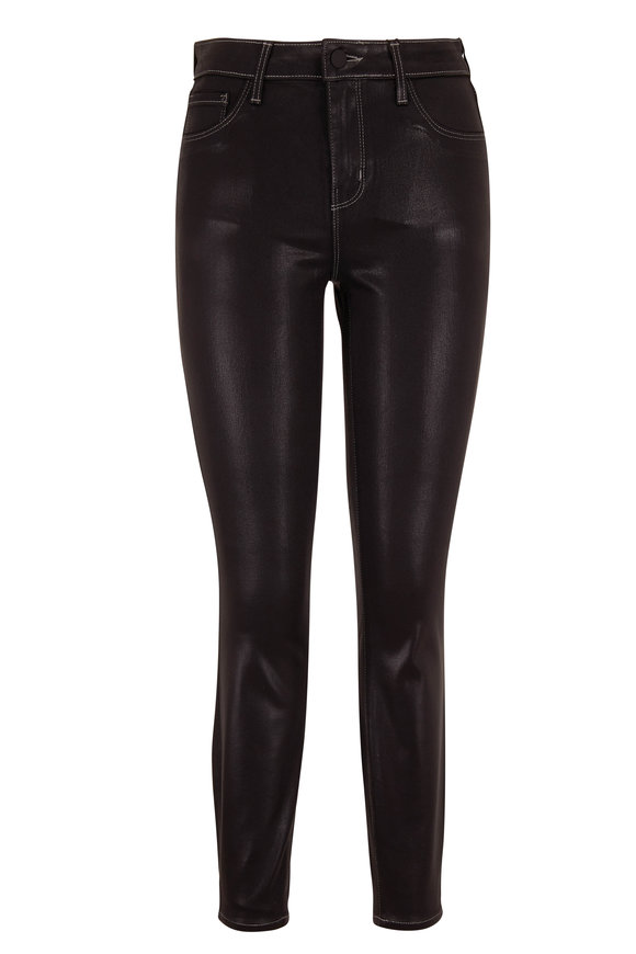 L'Agence Margot Noir Contrast Coated High-Rise Skinny Jean