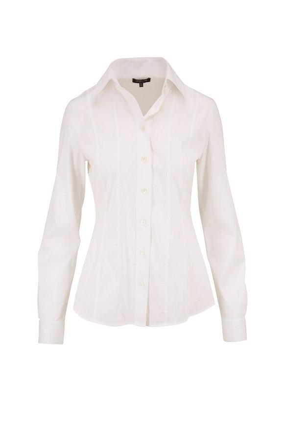 Lafayette 148 New York Abbott White Stretch Cotton Button Down Shirt