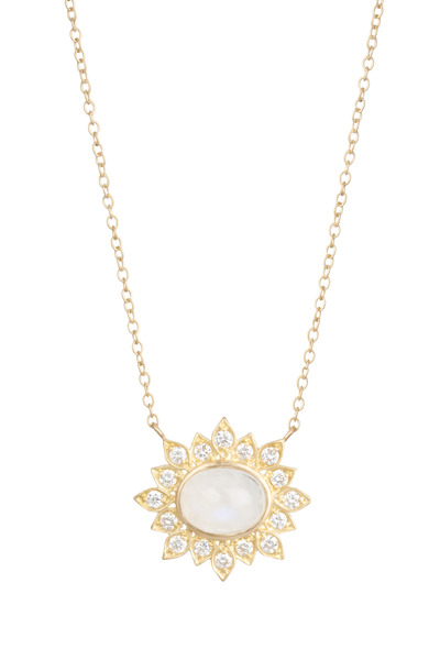 Jamie Wolf - Aladdin Gold Rainbow Moonstone Diamond Pendant