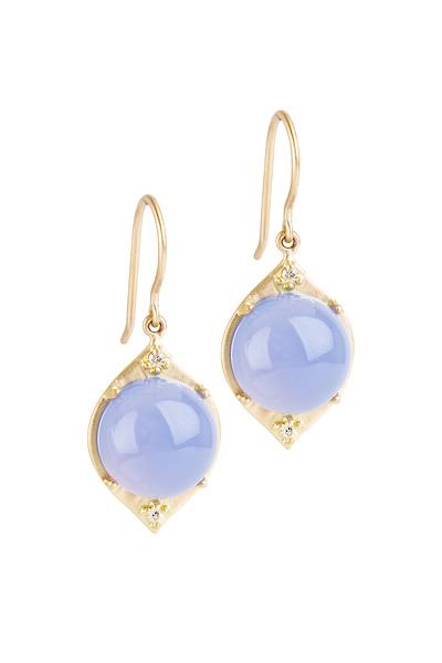 Jamie Wolf - Aladdin Gold Blue Chalcedony Diamond Earrings
