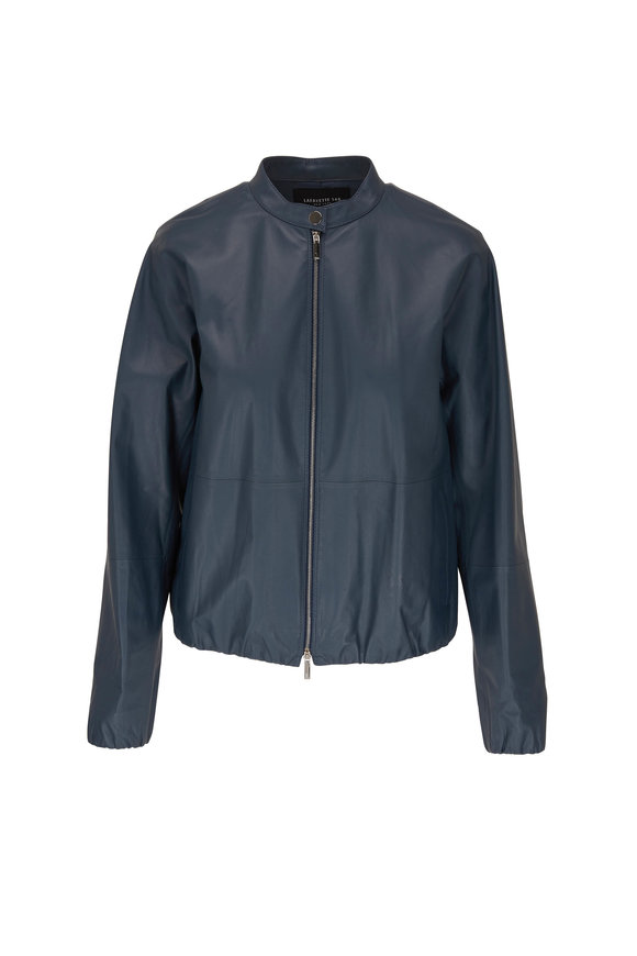 Lafayette 148 New York Rutherford Mountain Blue Leather Jacket