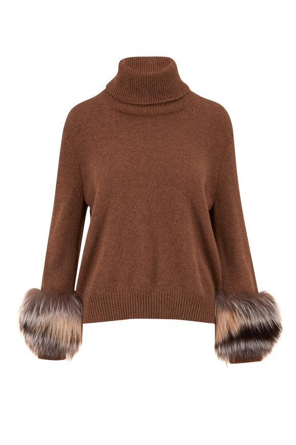 Lafayette 148 New York Tobacco Melange Cashmere Fur Cuff Turtleneck