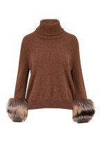 Lafayette 148 New York - Tobacco Melange Cashmere Fur Cuff Turtleneck