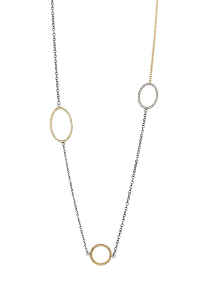 Todd Reed - Yellow Gold & Silver Raw & White Diamond Necklace