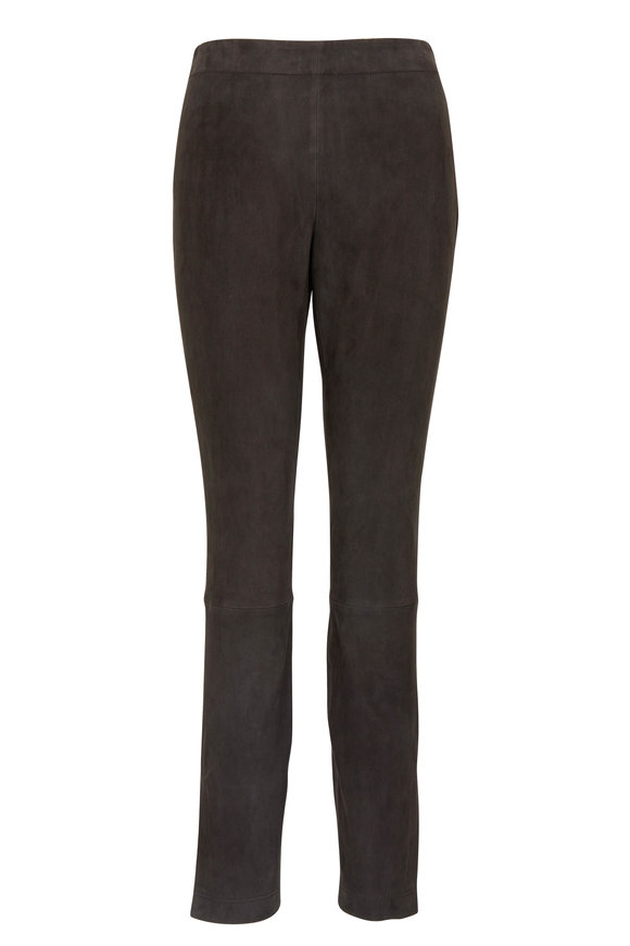 Lafayette 148 Murray Castle Gray Stretch Suede Skinny Pant