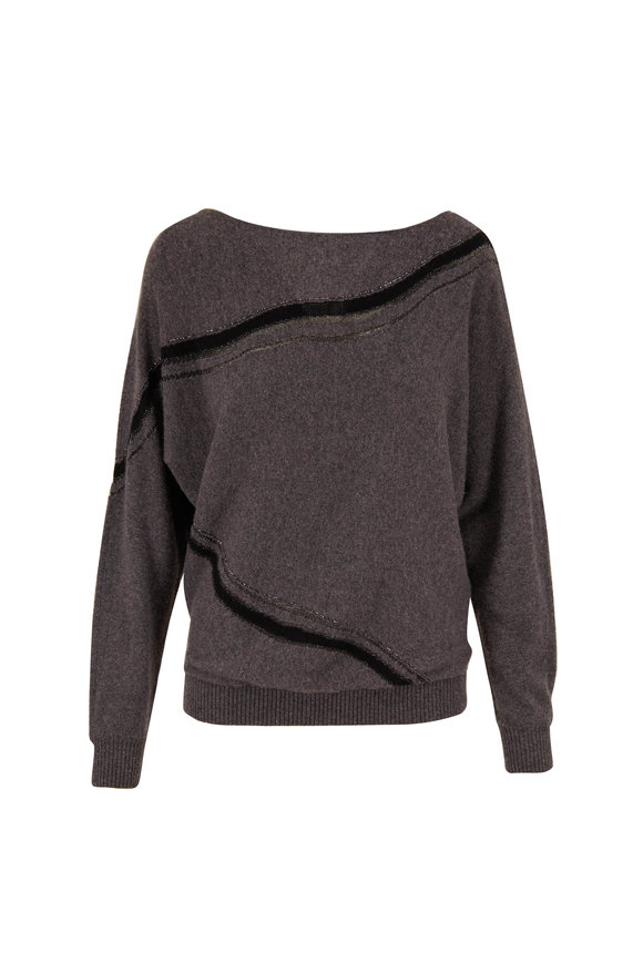 Lafayette 148 New York Dolan Graphite Multi Cashmere Sweater