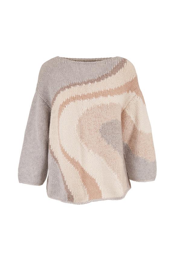 Lafayette 148 New York Missy Gray Heather Multi Intarsia Boatneck Sweater