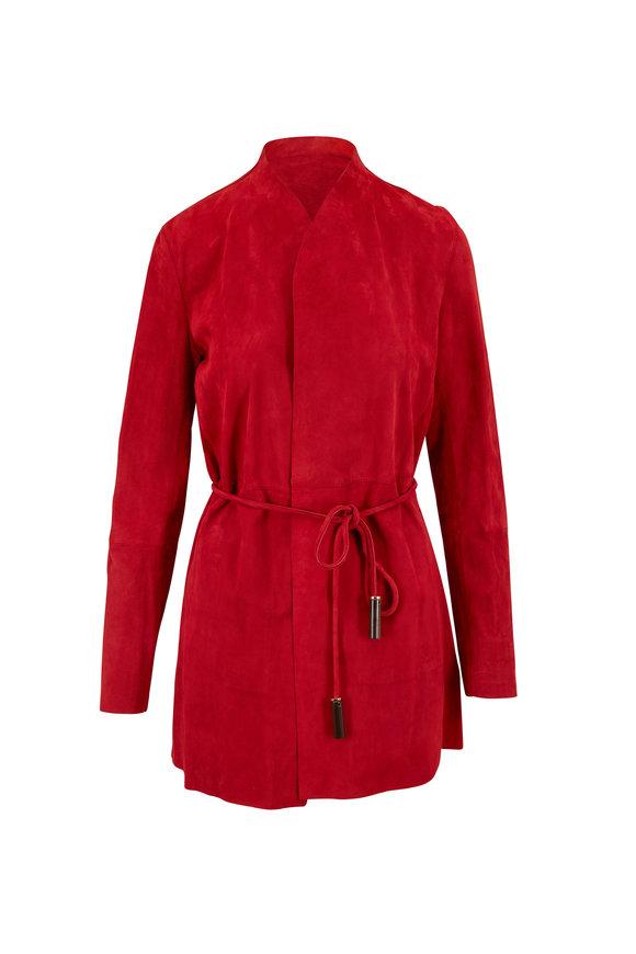 Lafayette 148 New York Marlow Garnet Suede Belted Jacket