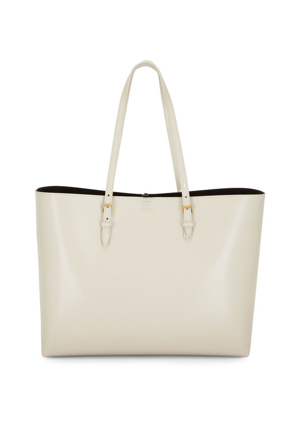 Saint Laurent Buckle Cream Embossed Leather Large Shopping Tote