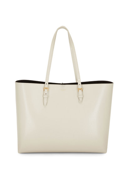 Saint Laurent - Buckle Cream Embossed Leather Large Shopping Tote