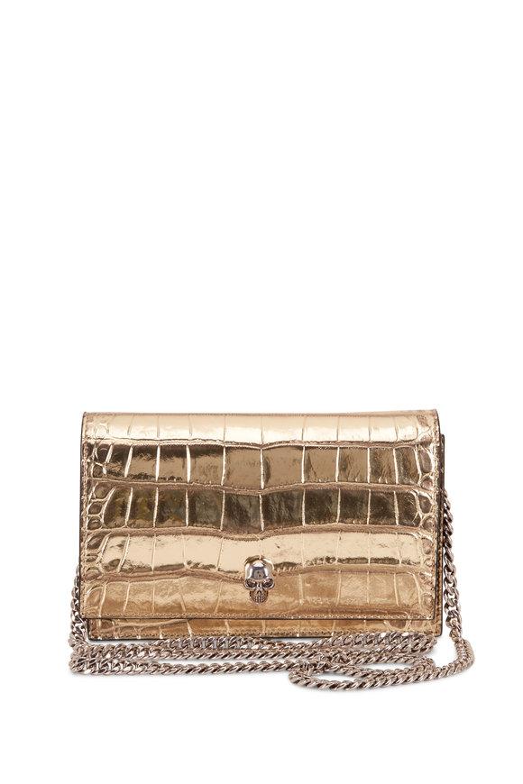 Alexander McQueen Skull Gold Croc Embossed Leather Mini Bag
