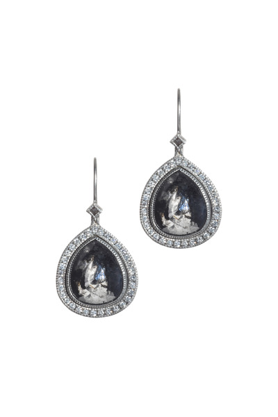 Todd Reed - Palladium Black, White & Raw Diamond Earrings