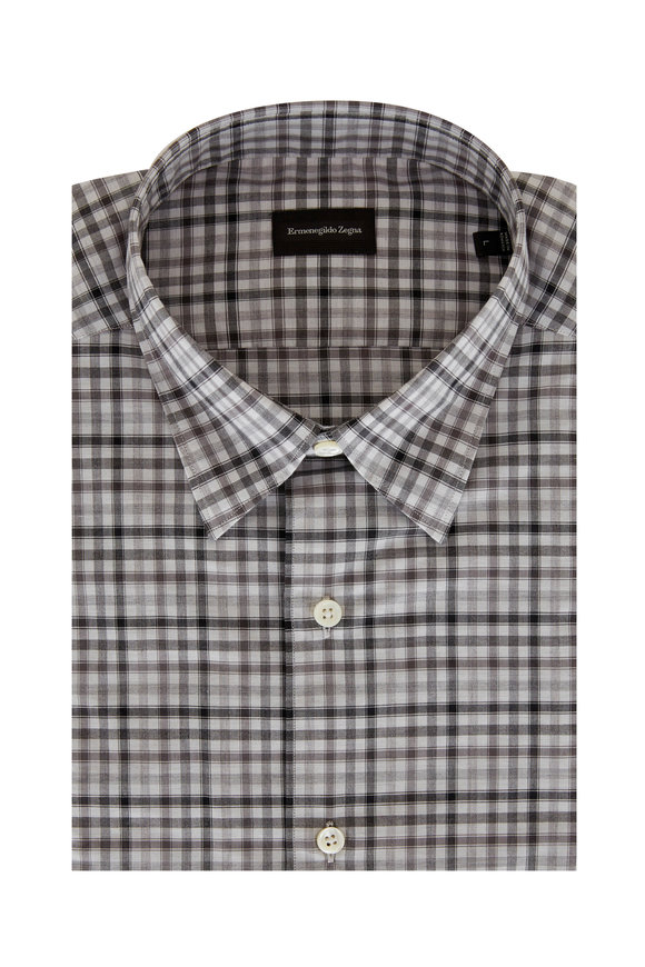 Ermenegildo Zegna Gray Tonal Check Classic Fit Sport Shirt