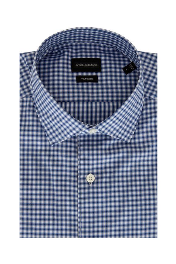 Ermenegildo Zegna Traveller Navy Cotton Mini Check Sport Shirt