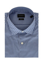 Ermenegildo Zegna - Traveller Navy Cotton Mini Check Sport Shirt