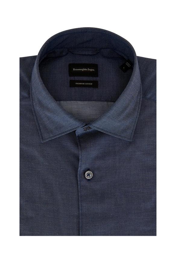 Ermenegildo Zegna Blue Premium Cotton Sport Shirt