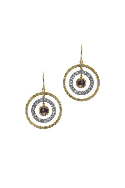 Todd Reed - Yellow Gold & Silver Diamond Dangle Earrings